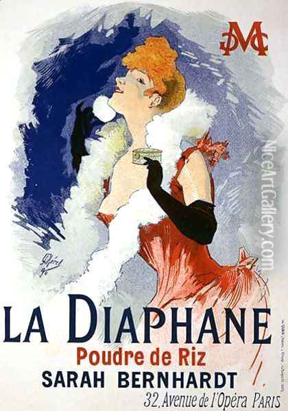 Reproduction of a poster advertising 'La Diaphane', translucent face-powder, modelled by Sarah Bernhardt (1844-1923), 1890 Oil Painting - Jules Cheret