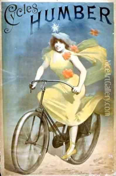 Advertising for 'Humber Cycles' Oil Painting - Jules Cheret