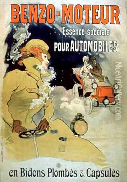 Poster advertising 'Benzo-Moteur' Motor Oil Especially for Automobiles, 1901 Oil Painting - Jules Cheret