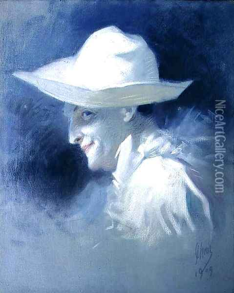 The Mime Artist Georges Wague as Pierrot, 1909 Oil Painting - Jules Cheret