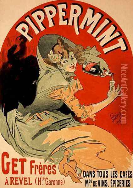 Reproduction of a poster advertising 'Pippermint', 1899 Oil Painting - Jules Cheret