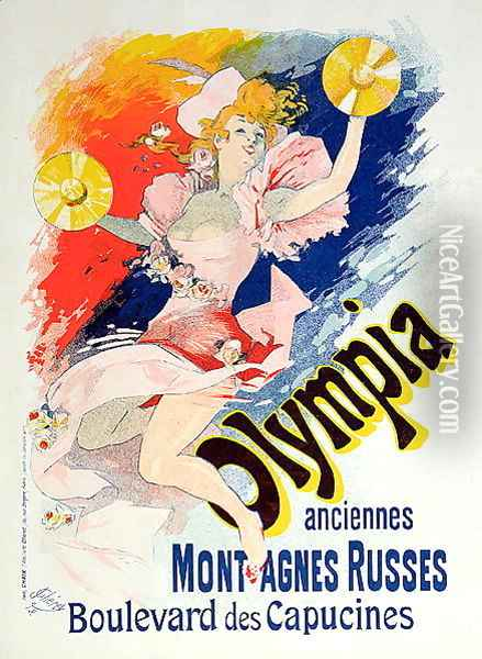 Poster advertising 'Olympia', Boulevard des Capucines, 1892 Oil Painting - Jules Cheret