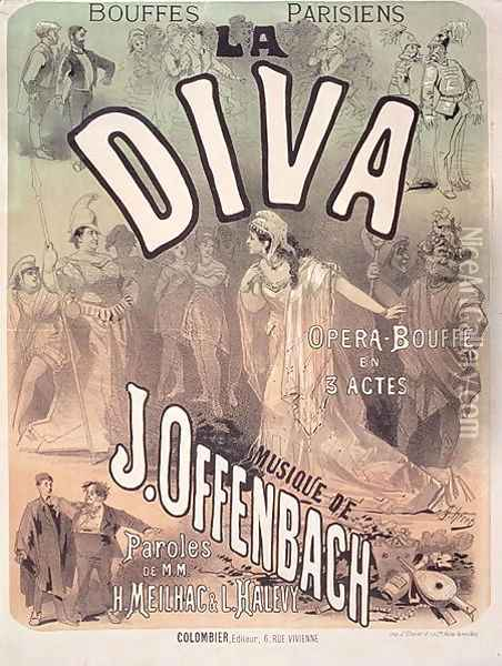 Poster advertising 'La Diva', opera bouffe with music Oil Painting - Jules Cheret