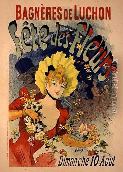 Reproduction of a Poster Advertising the Flower Festival at Bagneres-de-Luchon, 1890 Oil Painting - Jules Cheret