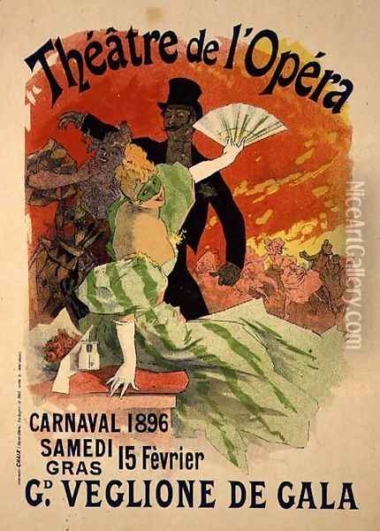 Reproduction of a Poster Advertising the 1896 Carnival at the Theatre de l'Opera, 15th February 1896 Oil Painting - Jules Cheret
