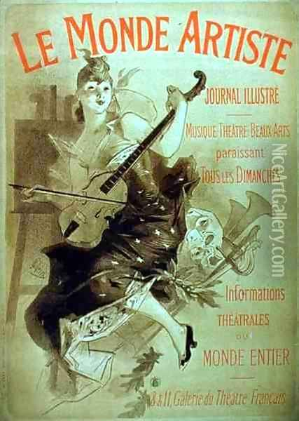 Advertisement for the Illustrated Journal, 'Le Monde Artiste' Oil Painting - Jules Cheret