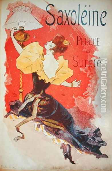 Poster advertising 'Saxoleine', safety lamp oil Oil Painting - Jules Cheret