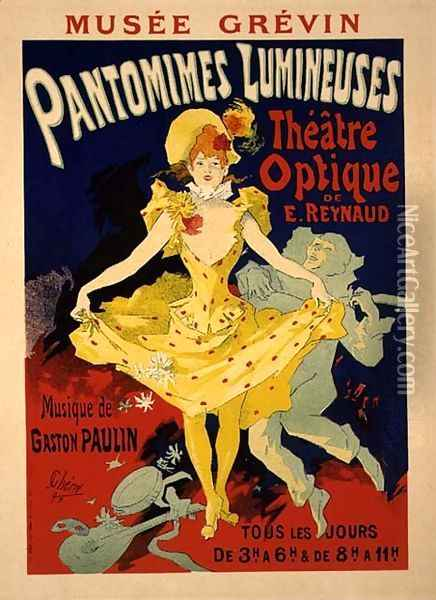Reproduction of a Poster Advertising 'Pantomimes Lumineuses' at the Musee Grevin, 1892 Oil Painting - Jules Cheret