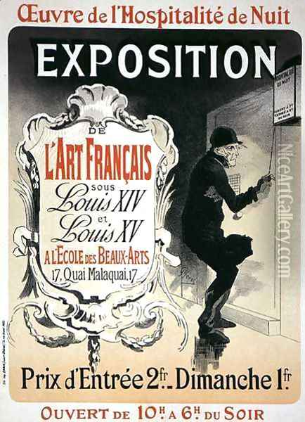 Reproduction of a poster advertising an 'Exhibition of French Art under the Reign of Louis XIV and XV' at the Ecole des Beaux-Arts, Paris Oil Painting - Jules Cheret