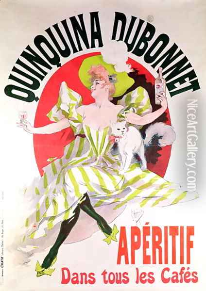 Poster advertising 'Quinquina Dubonnet' aperitif, 1895 Oil Painting - Jules Cheret