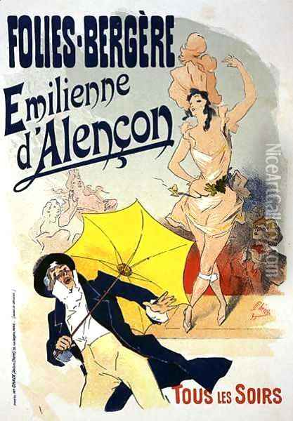 Reproduction of a poster advertising 'Emile d'Alencon', every evening at the Folies-Bergeres, 1893 ( Oil Painting - Jules Cheret