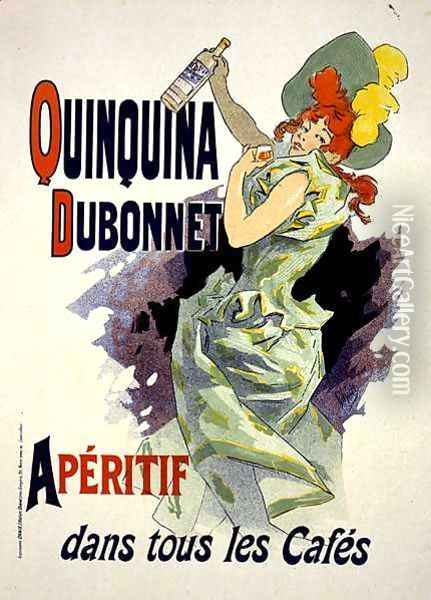 Reproduction of a poster advertising 'Quinquina Dubonnet', 1895 Oil Painting - Jules Cheret
