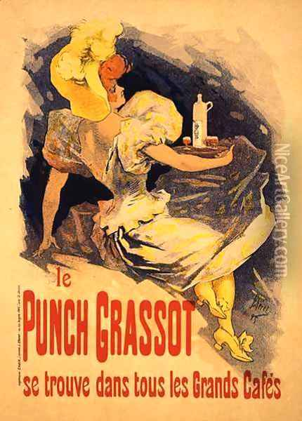 Reproduction of a poster advertising 'Punch Grassot', 1895 Oil Painting - Jules Cheret