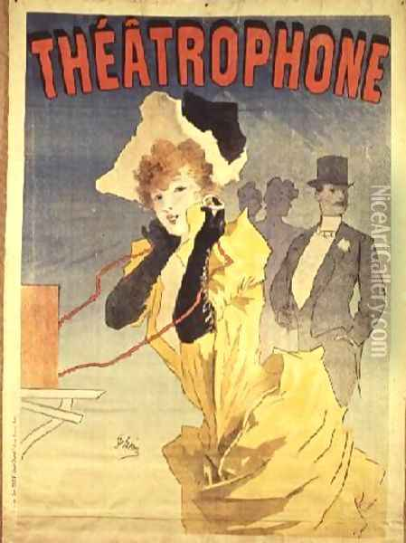 Poster Advertising the 'Theatrophone' Oil Painting - Jules Cheret