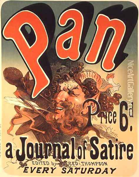 Reproduction of a poster advertising 'Pan', a journal of satire Oil Painting - Jules Cheret
