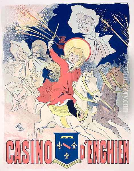 Reproduction of a poster advertising the 'Casino d'Enghien', 1890 Oil Painting - Jules Cheret