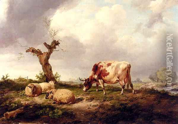 A Cow With Sheep In A Landscape Oil Painting - Thomas Sidney Cooper