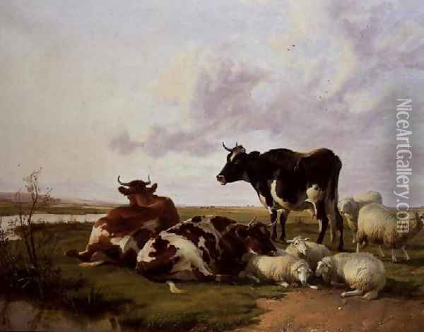 Cattle and Sheep Grazing Oil Painting - Thomas Sidney Cooper