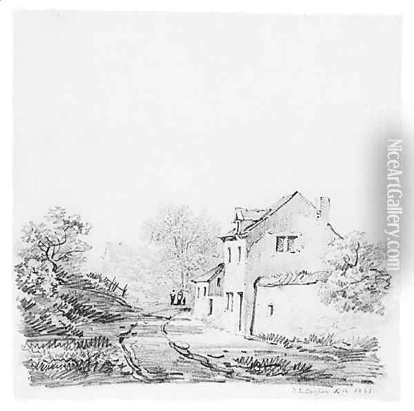 Village Landscape (from McGuire Scrapbook) Oil Painting - Thomas Sidney Cooper
