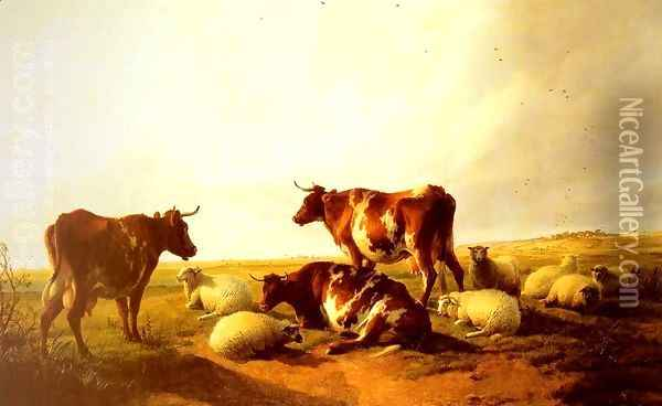 Cattle And Sheep In A Landscape Oil Painting - Thomas Sidney Cooper