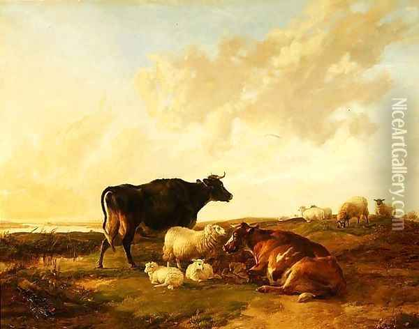 Landscape with Cows and Sheep, 1850 Oil Painting - Thomas Sidney Cooper