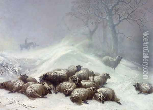Sheep in a Snowstorm, 1881 Oil Painting - Thomas Sidney Cooper