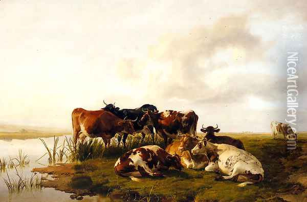 The Lowland Herd Oil Painting - Thomas Sidney Cooper