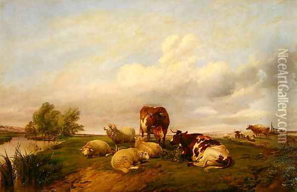 On Canterbury Meadows, 1861 Oil Painting - Thomas Sidney Cooper