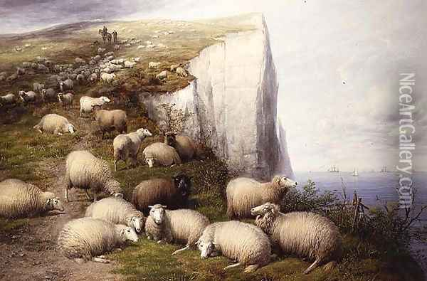 On the Kentish Cliffs Oil Painting - Thomas Sidney Cooper