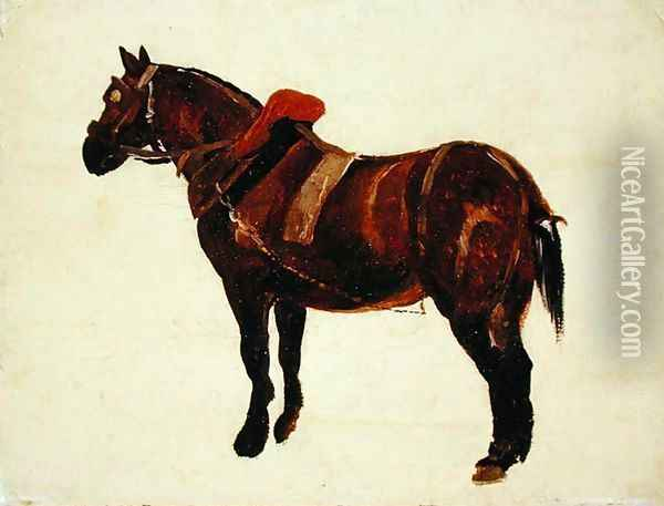Study of a Working Horse Oil Painting - Thomas Sidney Cooper