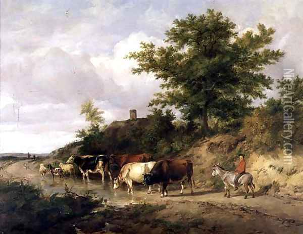 Wooded landscape with a boy on a donkey and cattle at a ford Oil Painting - Thomas Sidney Cooper