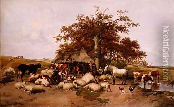 Waiting for Hire, 1878 Oil Painting - Thomas Sidney Cooper
