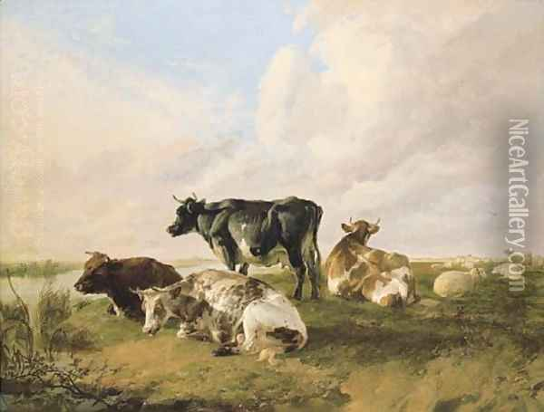 A bull, cows and sheep in a river landscape Oil Painting - Thomas Sidney Cooper