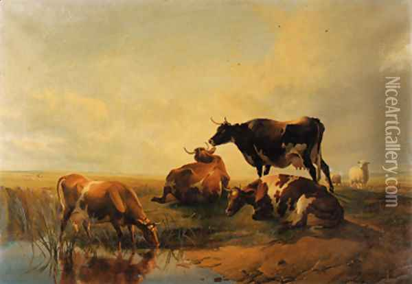 Cattle and sheep, by a pool Sunset Oil Painting - Thomas Sidney Cooper