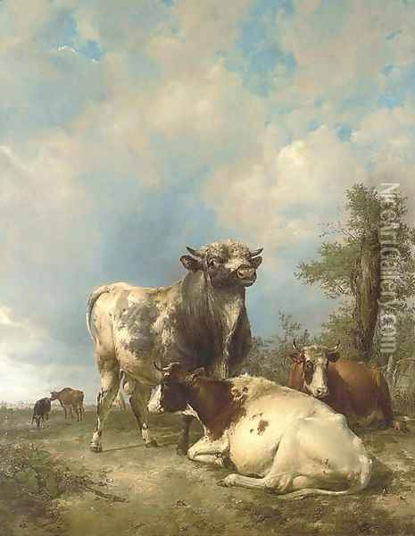 A Bull and Cows in a Landscape Oil Painting - Thomas Sidney Cooper