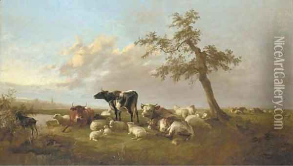 Cattle and sheep in an extensive landscape Oil Painting - Thomas Sidney Cooper