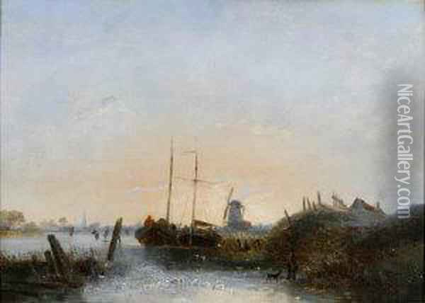 A Dutch Winter Scene With Barges And Skaters Near A Windmill. Oil Painting - Egidius Linnig