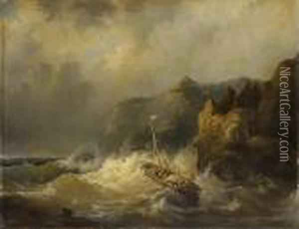 A Dismasted Ship In Dangerous Waters Oil Painting - Egidius Linnig