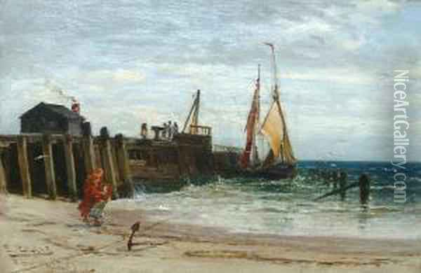 By The Jetty Oil Painting - Edwin Ellis