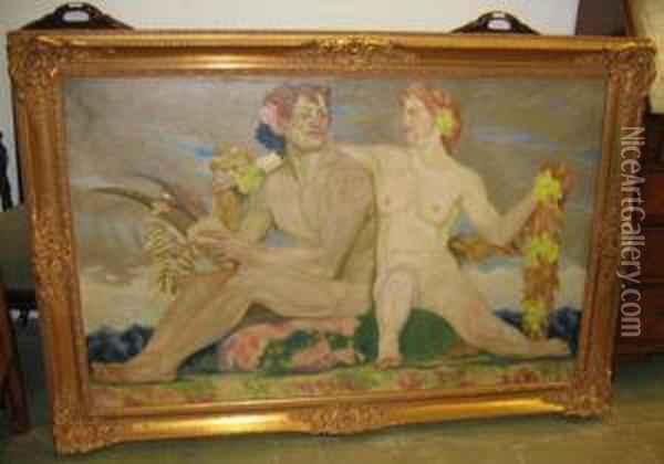 Man And Woman. Oil On Canvas. Signed Lower Left: Erler. Oil Painting - Fritz Erler
