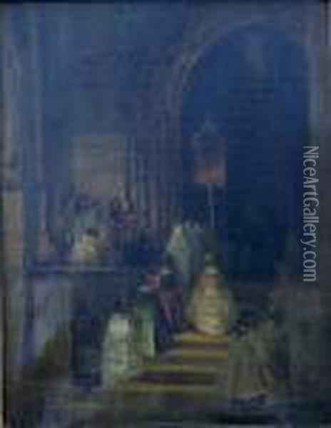 The Procession Oil Painting - Eugene Isabey