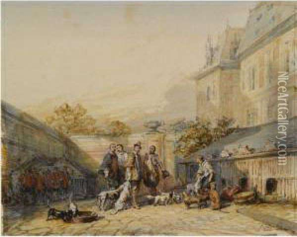 Huntsmen In 17th Century Dress With Their Hounds In A Courtyard,the Hague Oil Painting - Eugene Isabey
