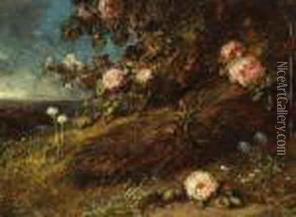 Buisson De Roses Oil Painting - Eugene Isabey