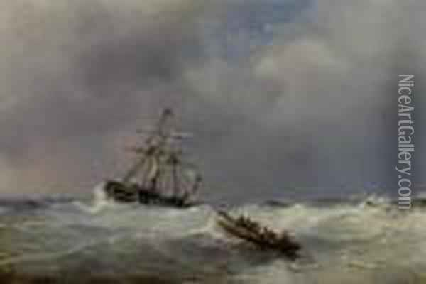 Marine With Dutch Sailing Ship And Life Boat Oil Painting - Eugene Isabey