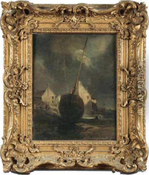 Barque A Maree Basse Oil Painting - Eugene Isabey