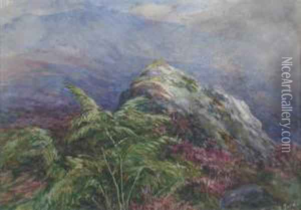 On The Moors, Dumfriesshire Oil Painting - James Jnr Faed