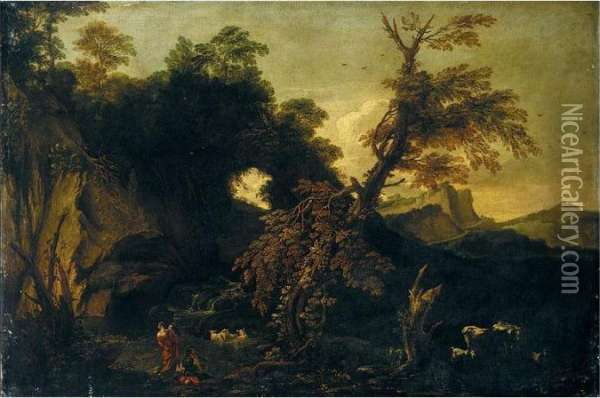 A Mountainous Landscape With Herders And Animals Oil Painting - Anton Faistenberger