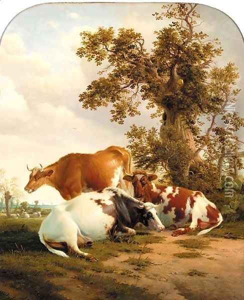 Cattle resting in a meadow 2 Oil Painting - Thomas Sidney Cooper
