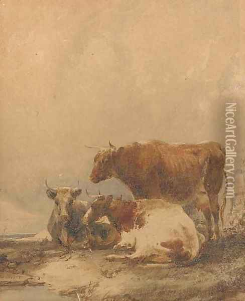 Cows resting on a riverbank Oil Painting - Thomas Sidney Cooper