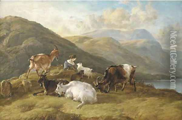 Highland landscape with a girl and goats Oil Painting - Thomas Sidney Cooper